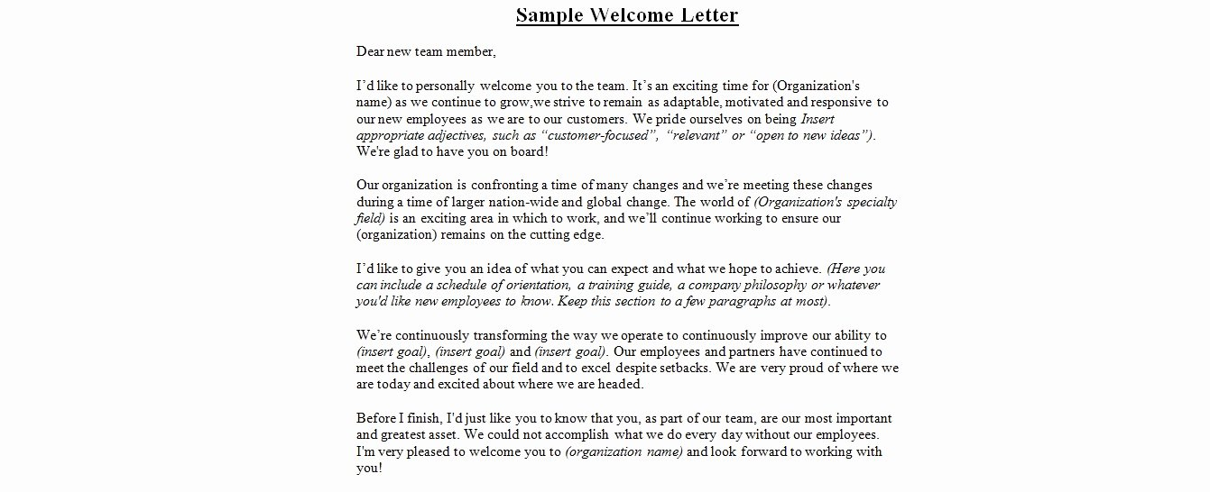 Wedding Wel E Letter Sample
