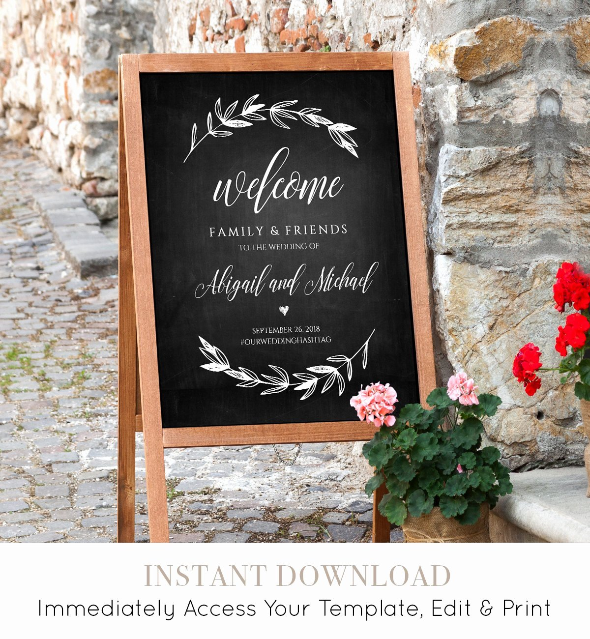 Wedding Wel E Sign Template Chalkboard Wedding Poster
