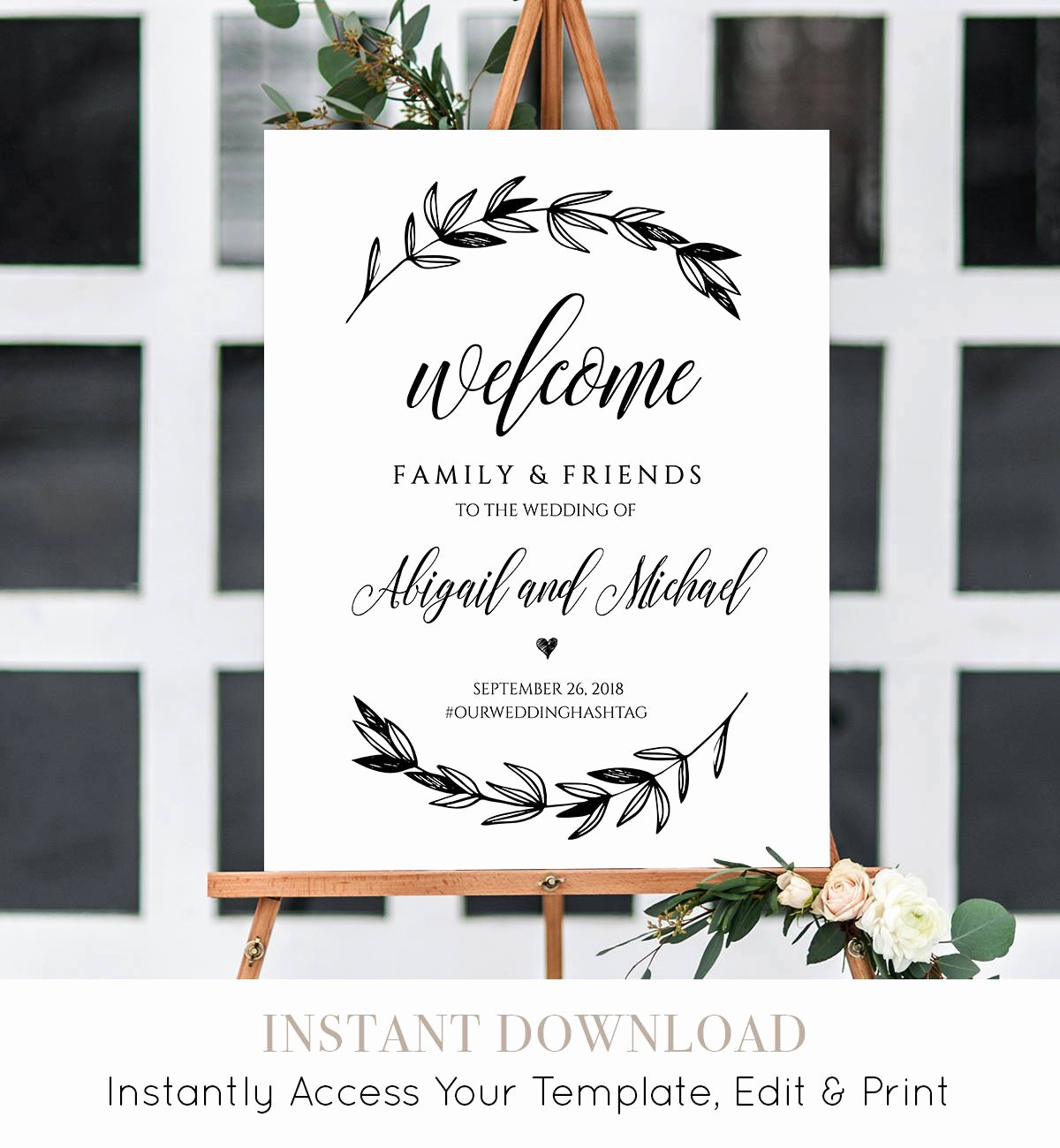 Wedding Wel E Sign Template Printable Poster