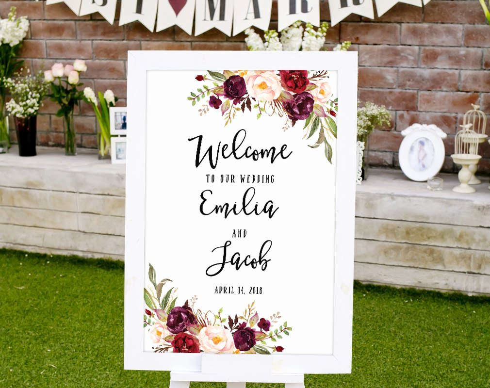 Wedding Wel E Sign Template Printable Wedding Reception