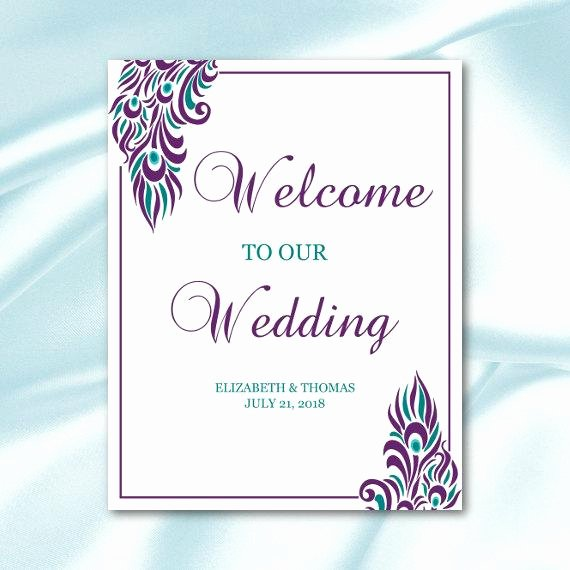 Wedding Wel E Sign Template Purple Teal by