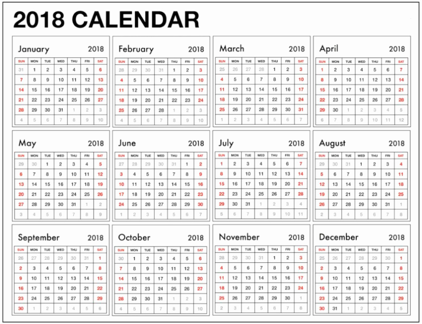 Weekly & Yearly Excel 2018 Calendar Template