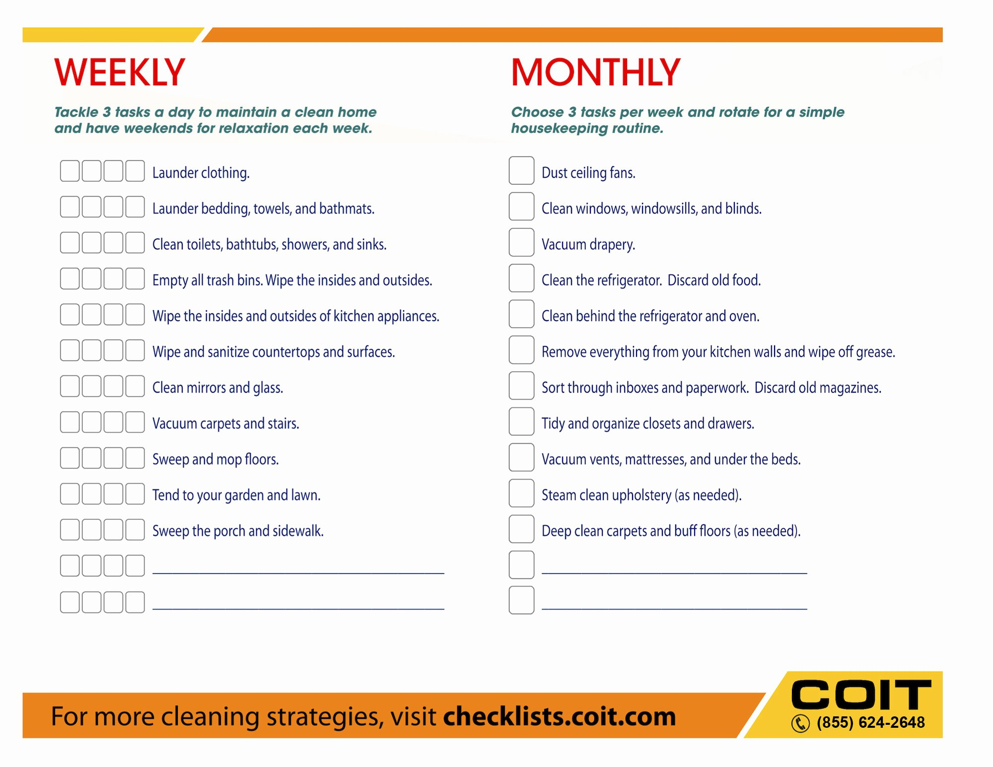 Weekly and Monthly House Cleaning Checklist