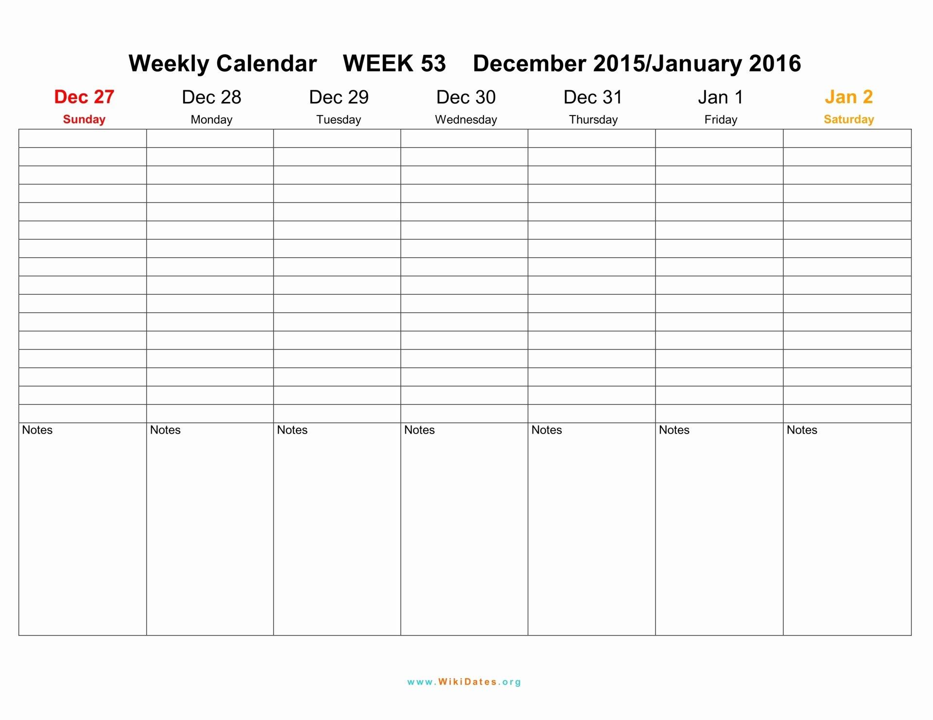 Weekly Calendar 2016 2017 2018