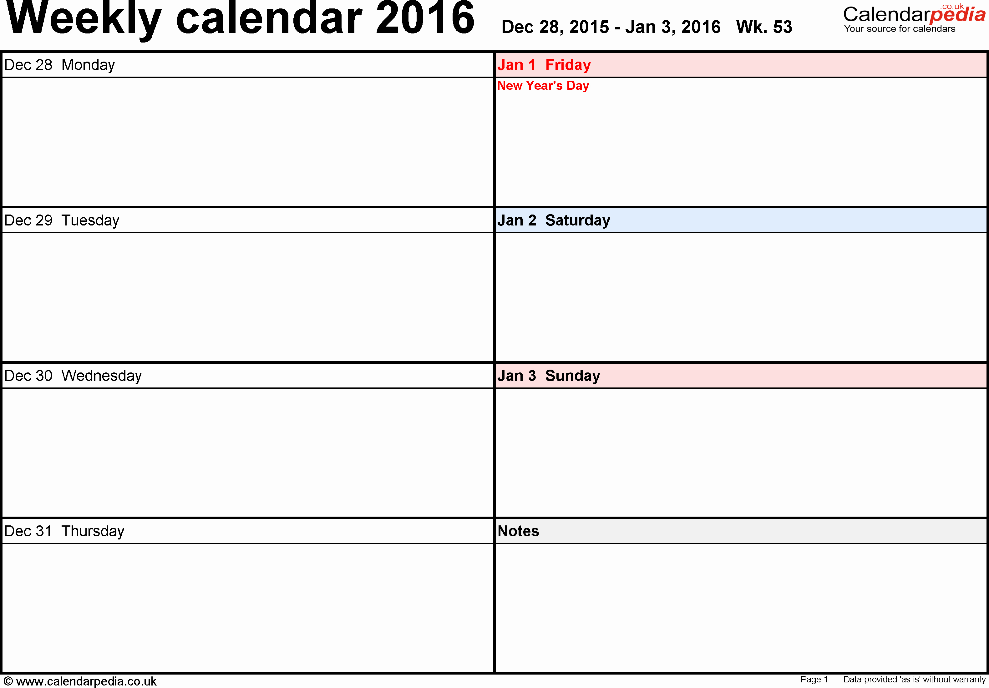 Weekly Calendar 2016 Uk Free Printable Templates for Word
