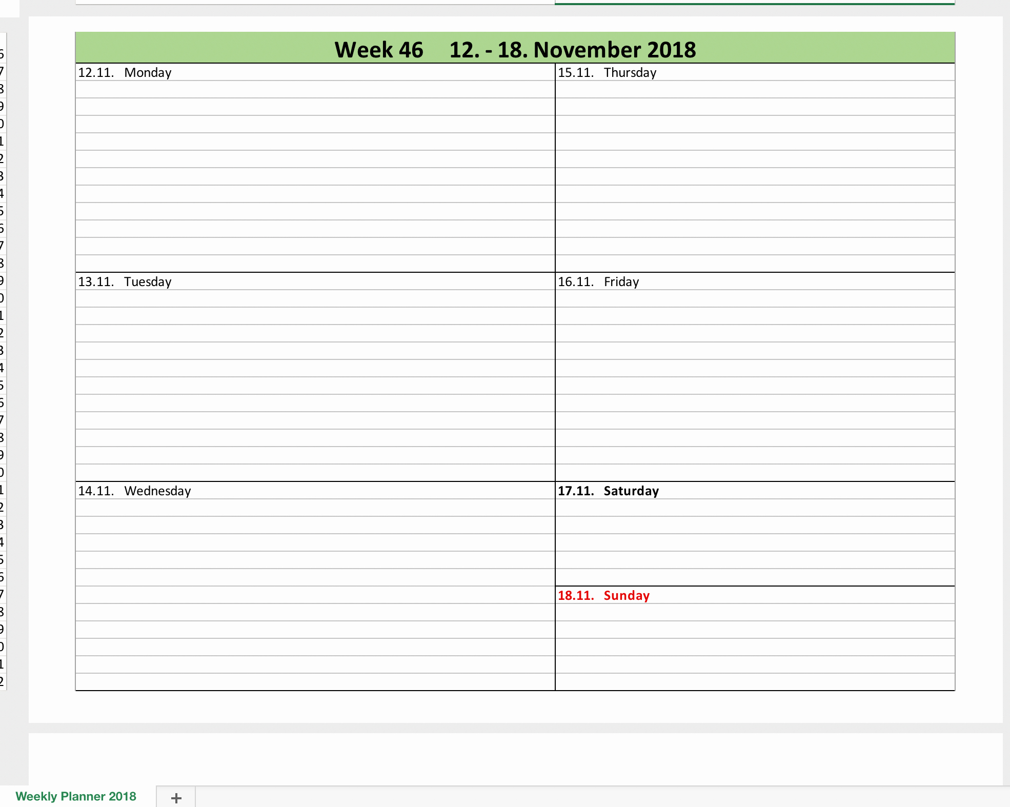 Weekly Calendar 2018 with Excel
