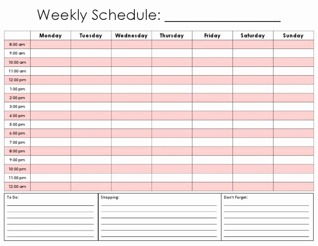 Weekly Calendar by Hour Template