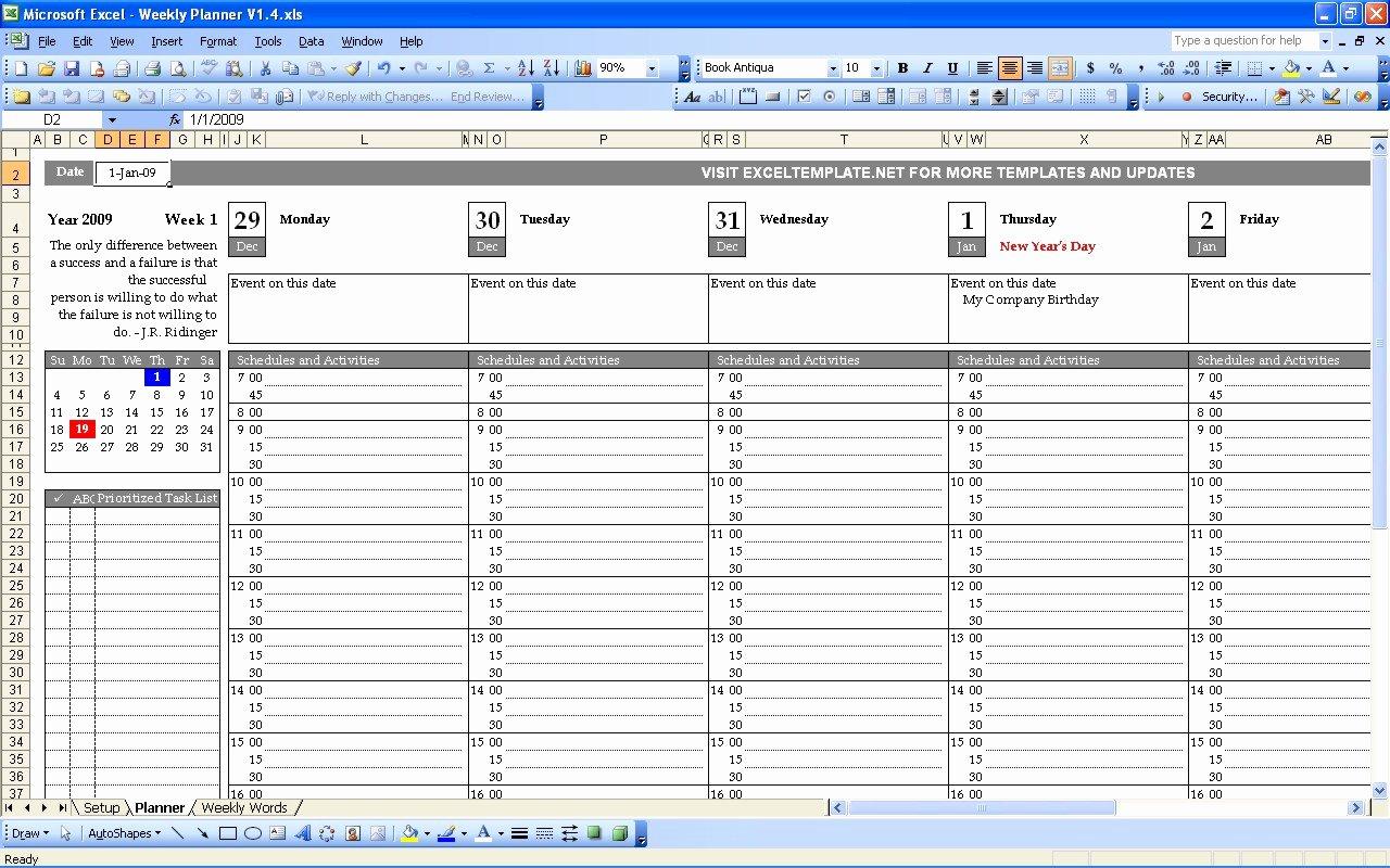 Weekly Calendar Excel