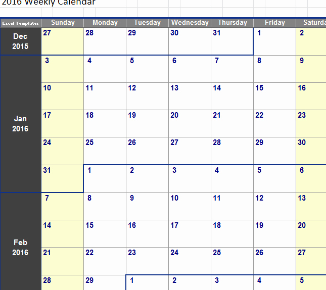Weekly Calendar In Excel