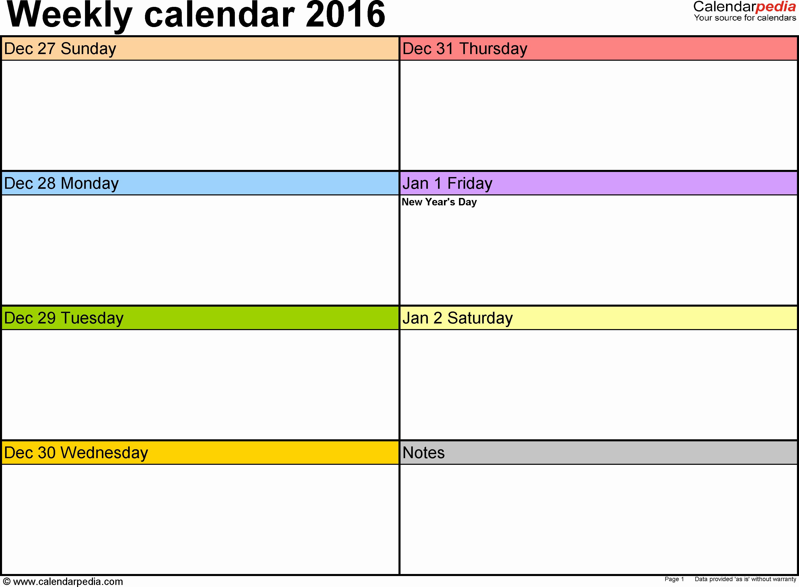 Weekly Calendar Line