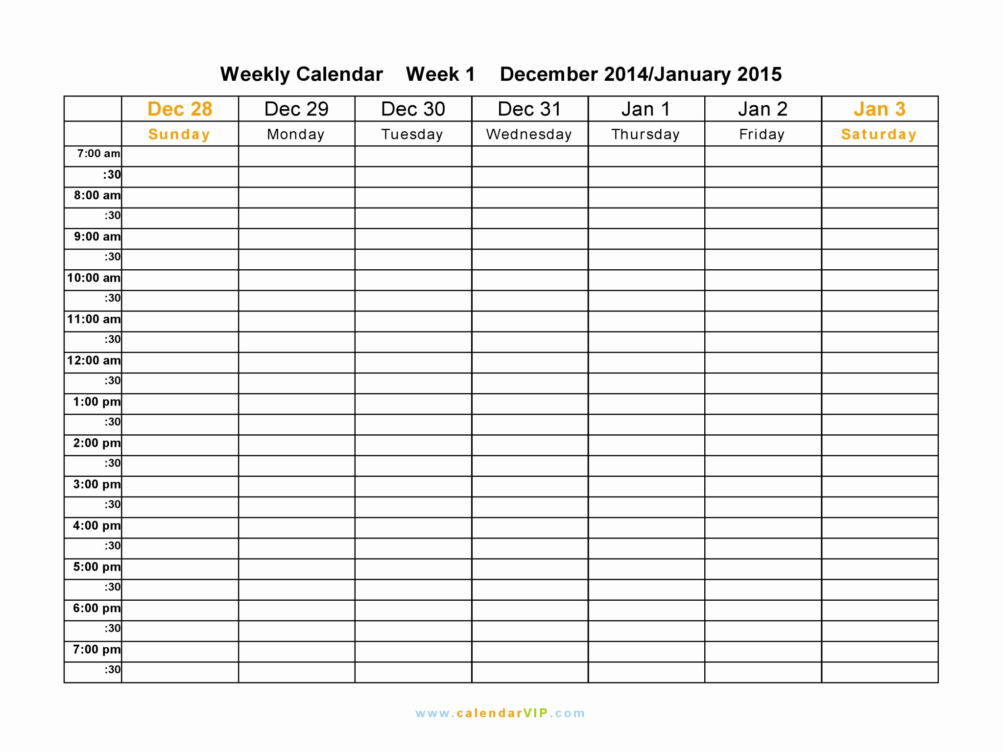 Weekly Calendar Spreadsheet