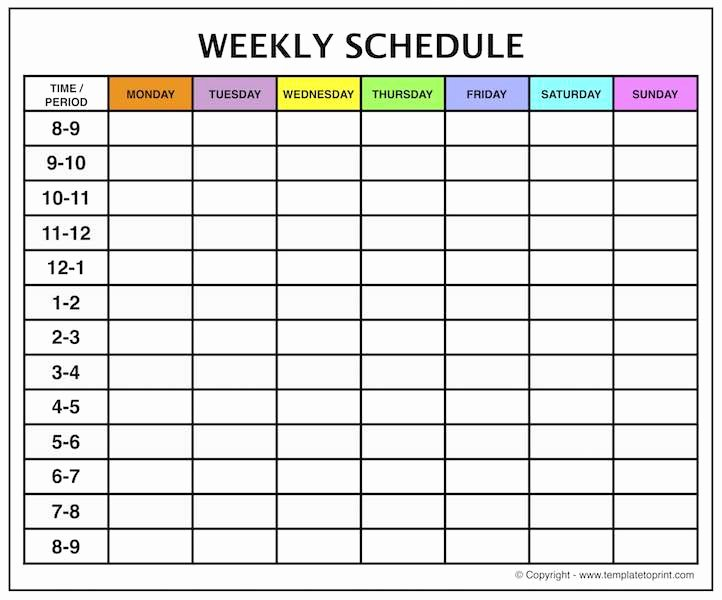 Weekly Calendar with Time Slots – Printable Weekly Calendar