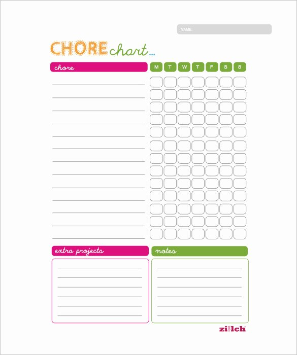 Weekly Chore Chart Template – 11 Free Word Excel Pdf