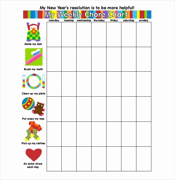Weekly Chore Chart Template 24 Free Word Excel Pdf