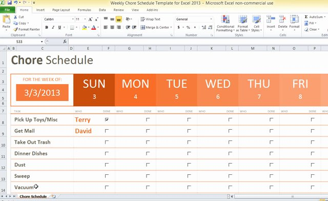 Weekly Chore Schedule Template for Excel 2013