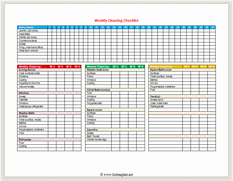 Weekly Cleaning Checklist for Word List Templates