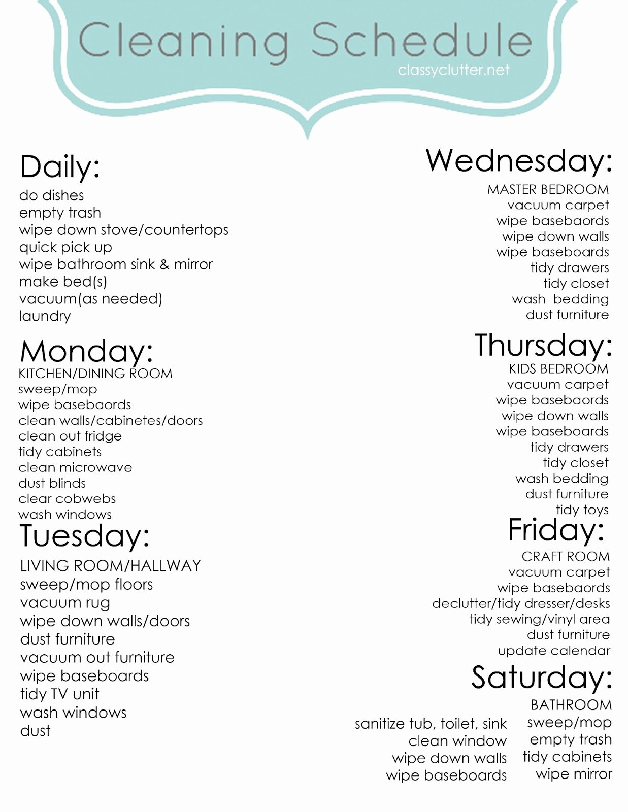 Weekly Cleaning Schedule Improve Your Cleaning Habits