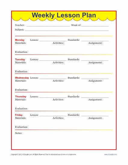 Weekly Detailed Lesson Plan Template Elementary