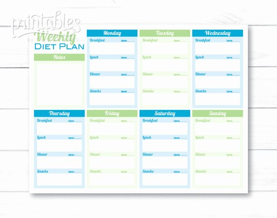 Weekly Diet Planner Pdf Meal Planner Template Printable Menu