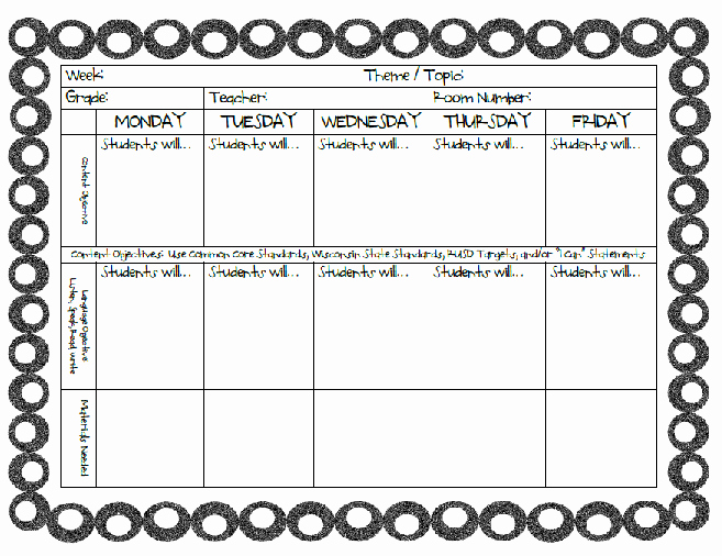 Weekly Editable toddler Lesson Plan Template