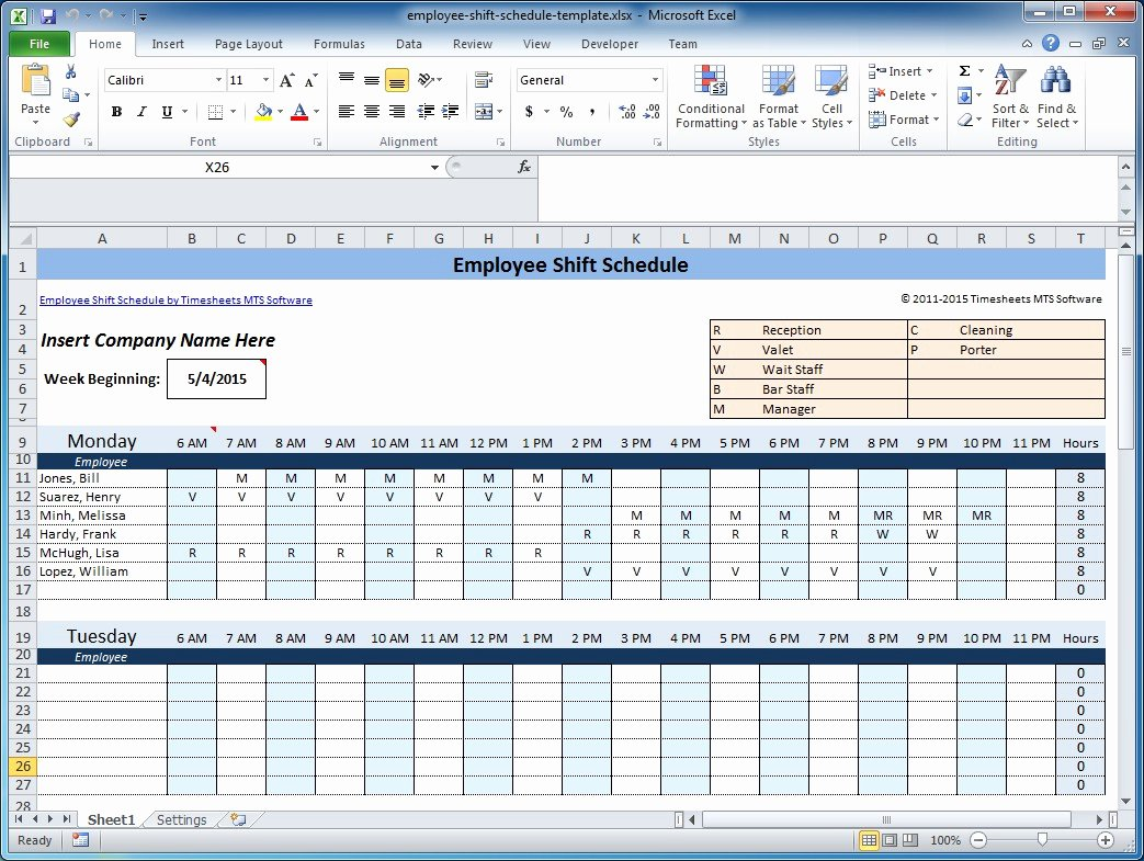 Weekly Employee Shift Schedule Template Excel