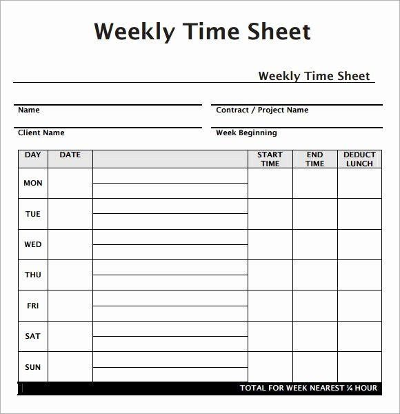 Weekly Employee Timesheet Template Work