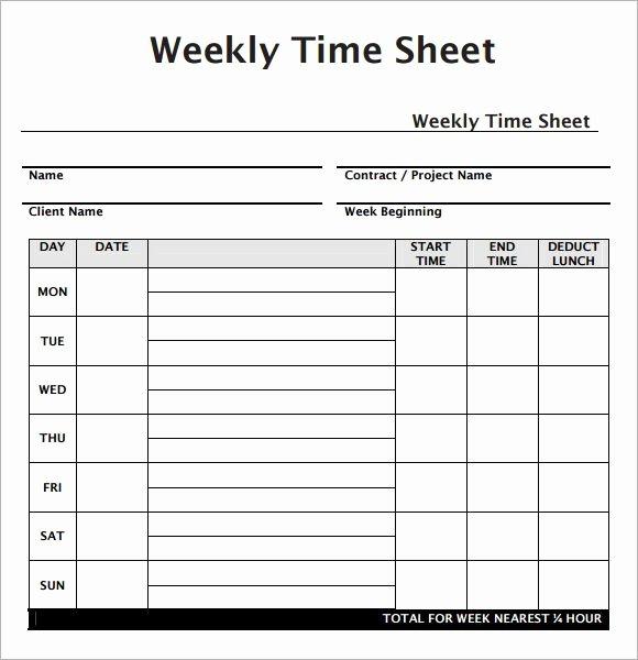 Weekly Employee Timesheet Template Work