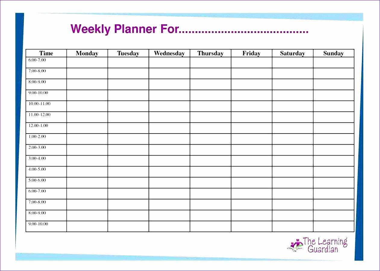 Weekly Hourly Planner Template Excel Weekly Hourly Planner