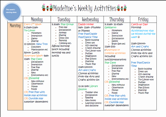 Weekly Kids Activity Planner Blank One Included to Make