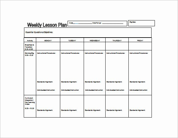 Weekly Lesson Plan Template – 8 Free Word Excel Pdf