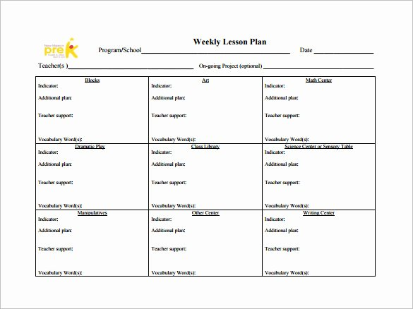 Weekly Lesson Plan Template 9 Free Sample Example