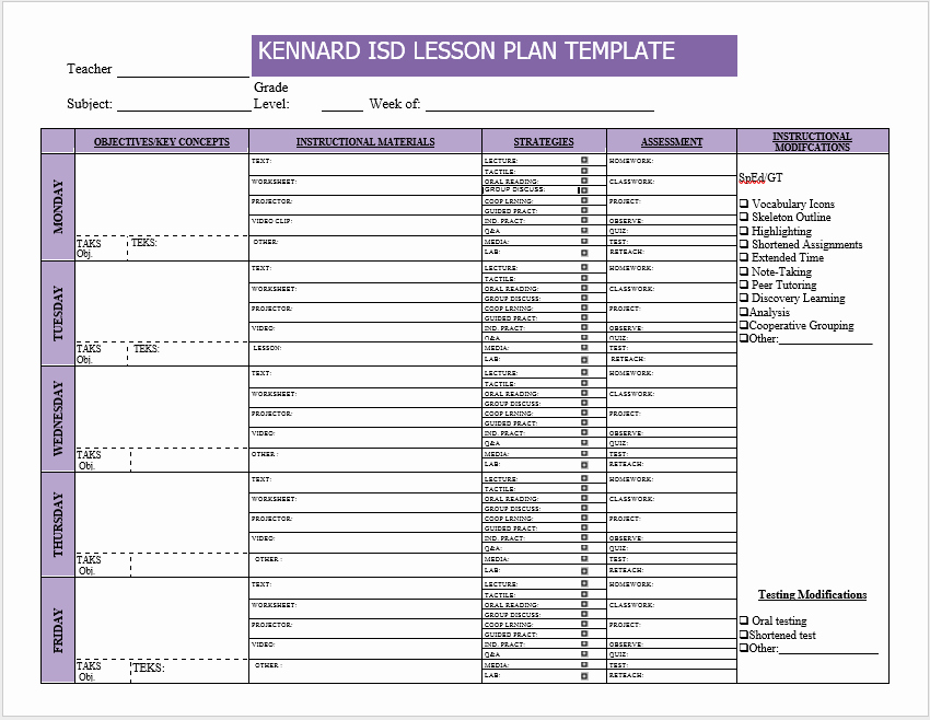 Weekly Lesson Plan Templates 2 Free Templates Word
