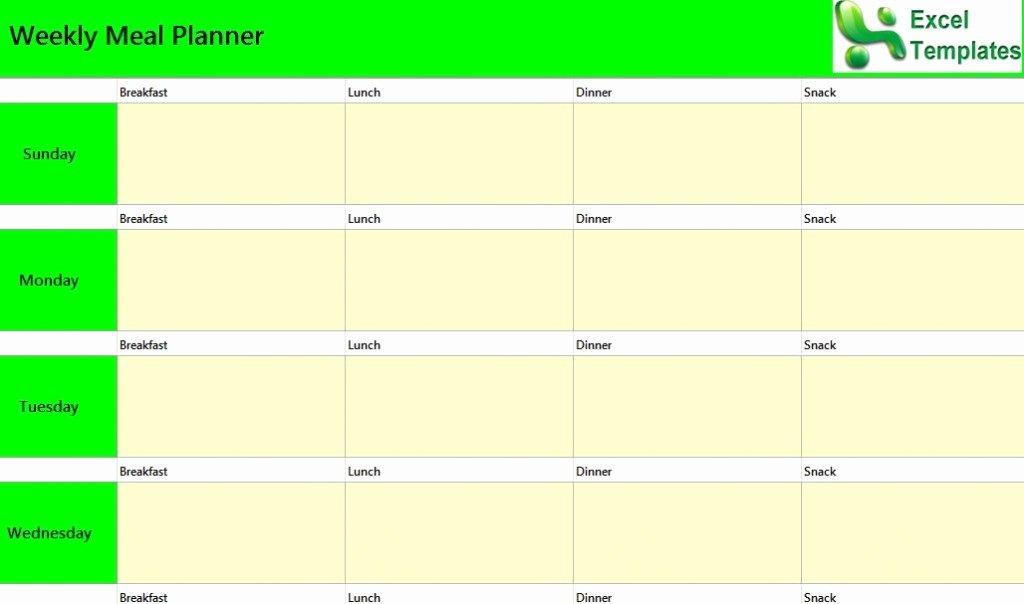 Weekly Meal Planner Excel Template