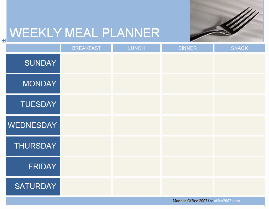 Weekly Meal Planner Template Excel Templates Data