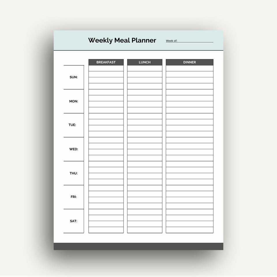 Weekly Meal Planner Template Printable Pdf Planner for Meals