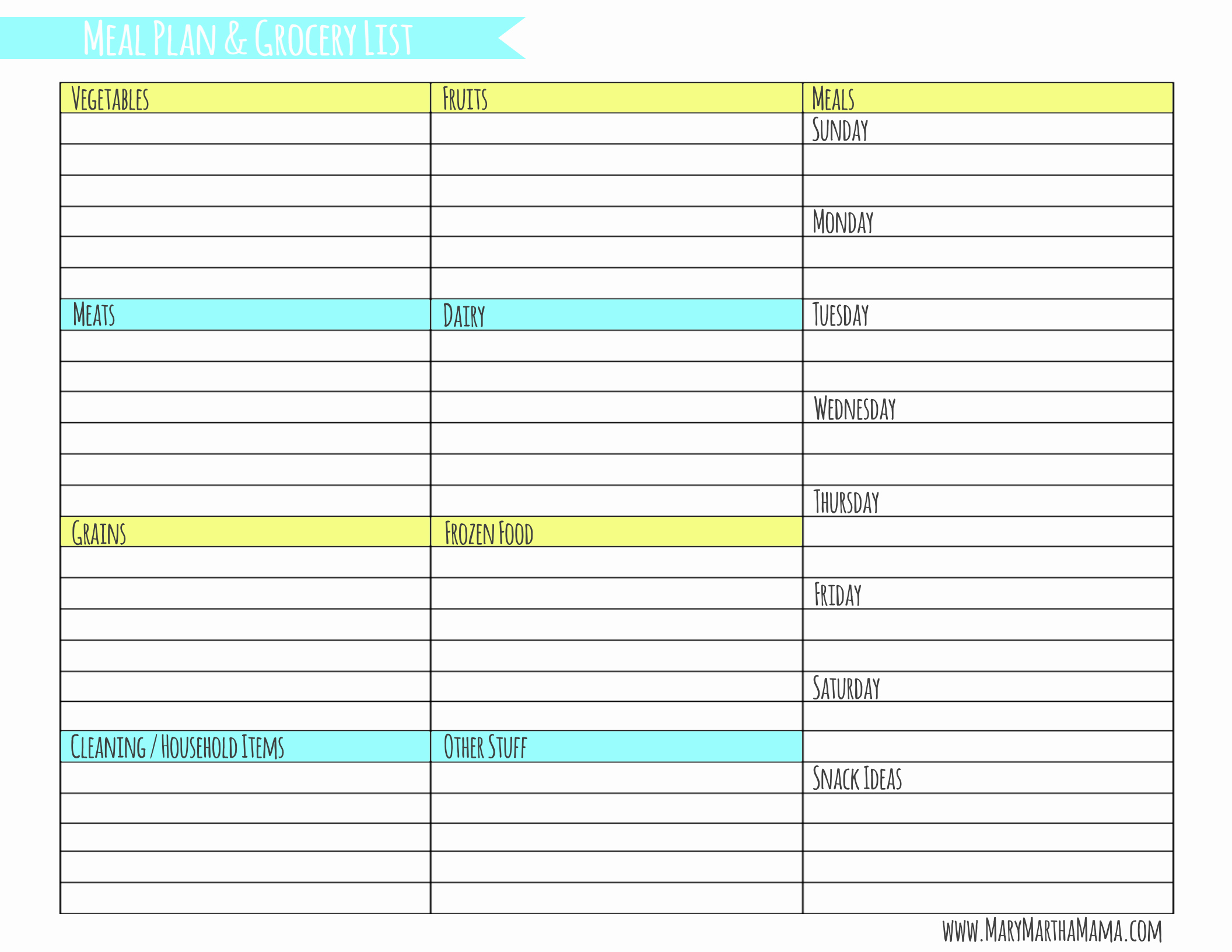 Weekly Meal Planner Template with Grocery List – Mary
