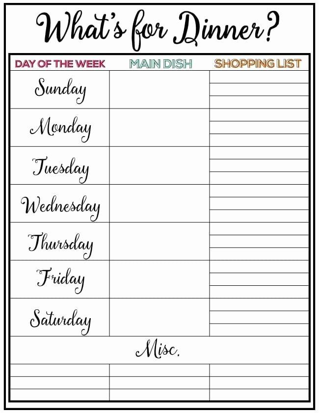 Weekly Meal Planner Week 7