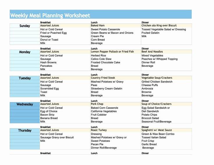 Weekly Meal Planning Worksheet Meal Planning