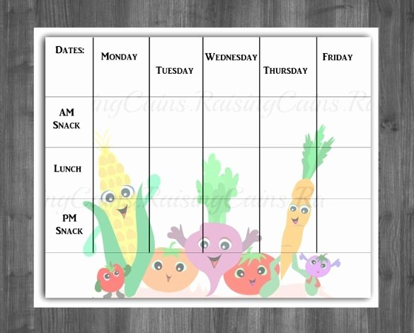 Weekly Menu Template for Daycare