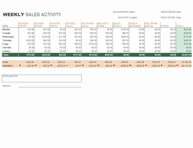 Weekly Sales Activity Report