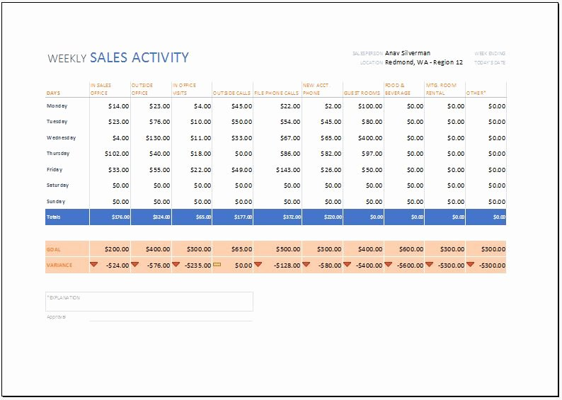 Weekly Sales Activity Report Template for Excel