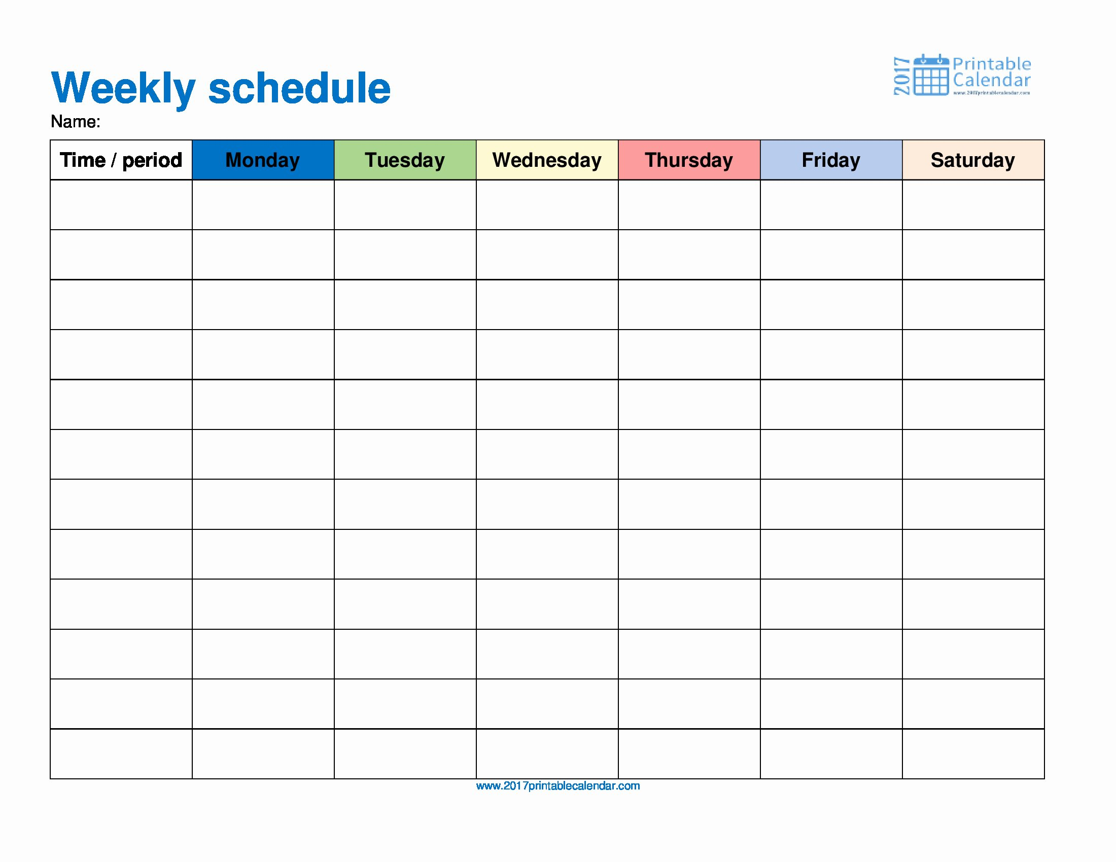 Weekly Schedule Template – 2017 Printable Calendar