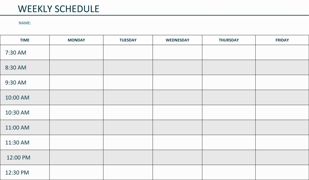 Weekly Schedule Template for Your Inspirations Vatansun