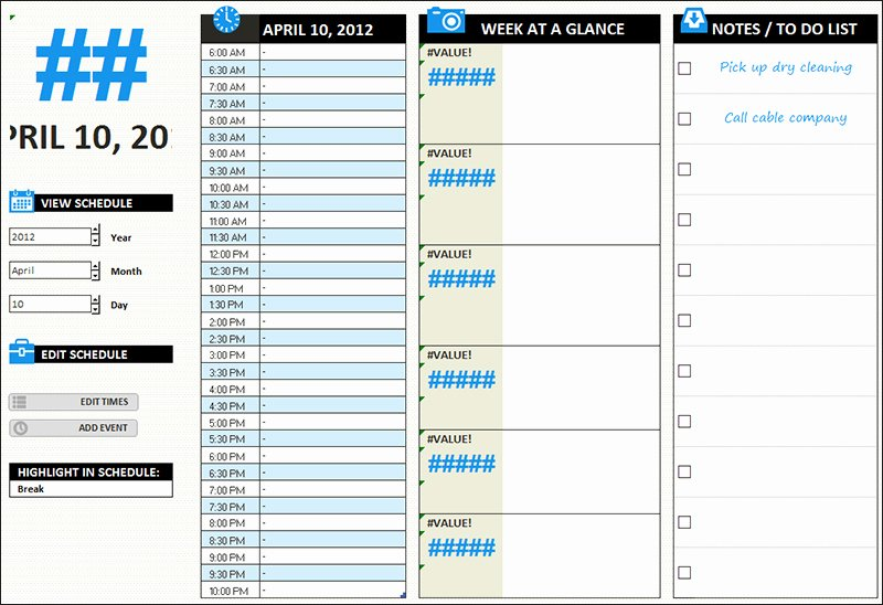 Weekly Schedule Templates Excel