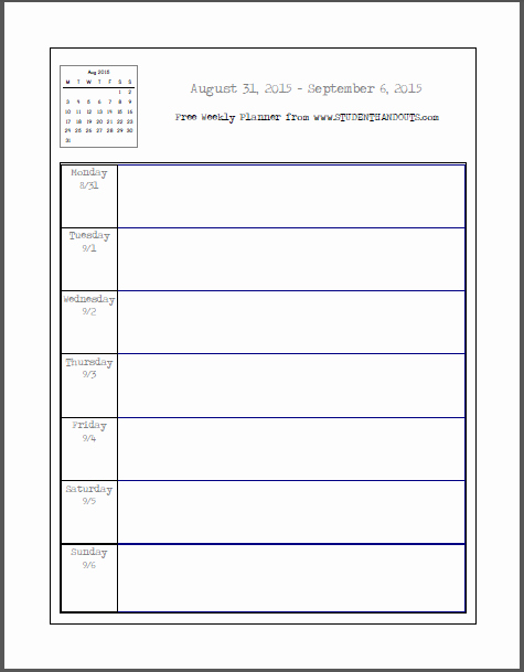 Weekly School Planner 2015 2016 This Academic Calendar
