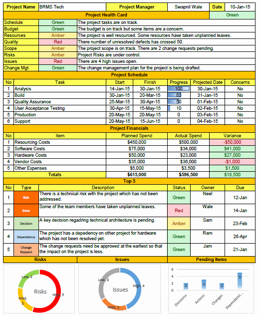 Weekly Status Report format Excel Project