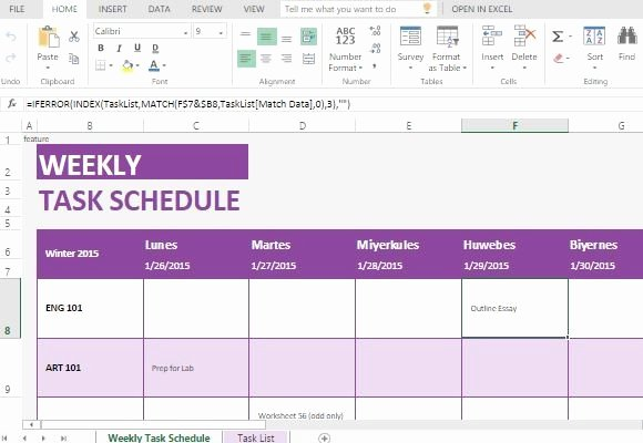 Weekly Task List Template for Excel Line