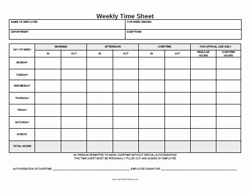 Weekly Time Sheet form Free Printable Myfreeprintable