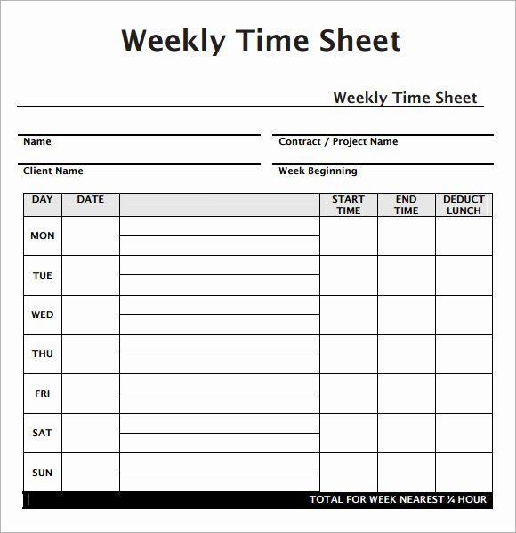 Weekly Timesheet Template