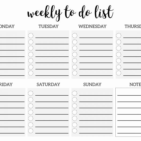 Weekly to Do List Printable Checklist Template – Paper